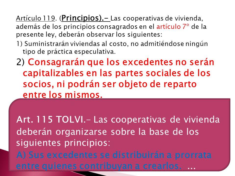 Art. 115 TOLVI.- Las cooperativas de vivienda