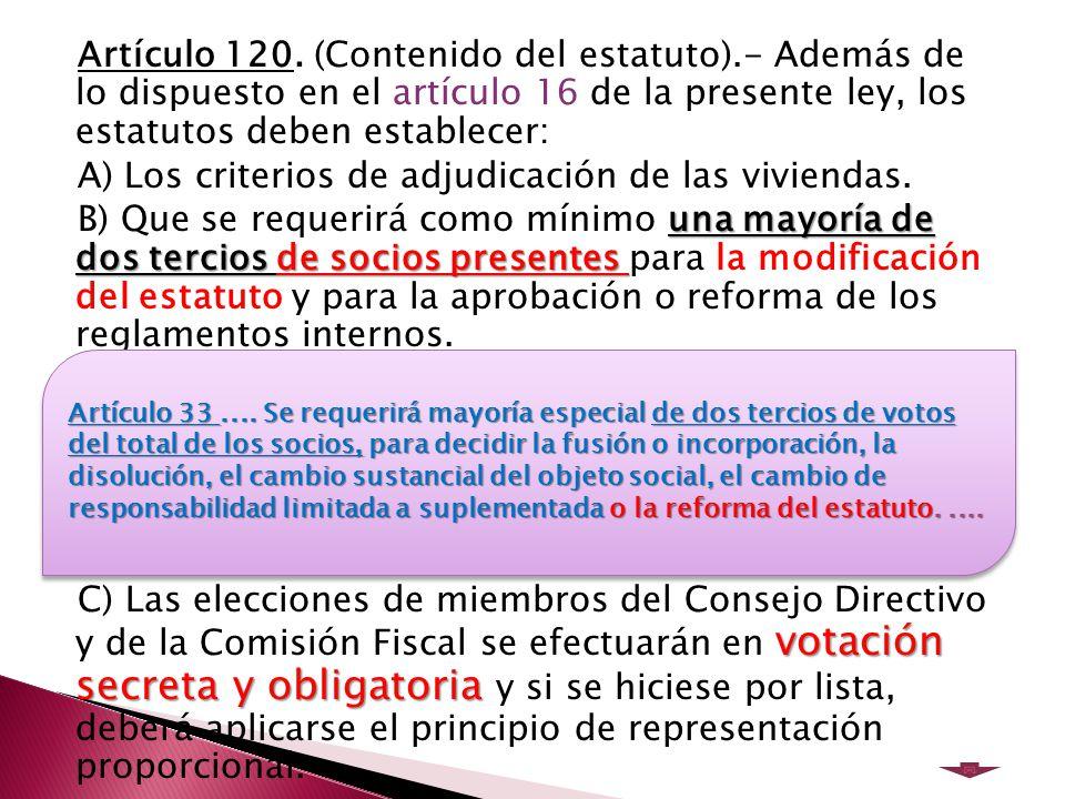 Artículo 120. (Contenido del estatuto)