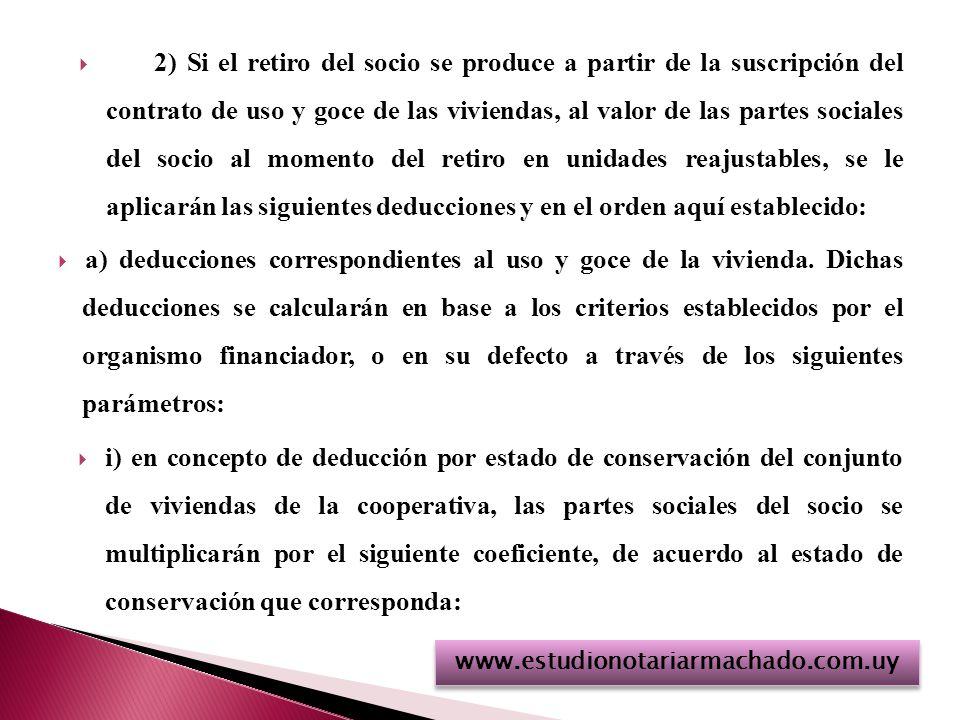 2) Si el retiro del socio se produce a partir de la suscripción del contrato de uso y goce de las viviendas, al valor de las partes sociales del socio al momento del retiro en unidades reajustables, se le aplicarán las siguientes deducciones y en el orden aquí establecido: