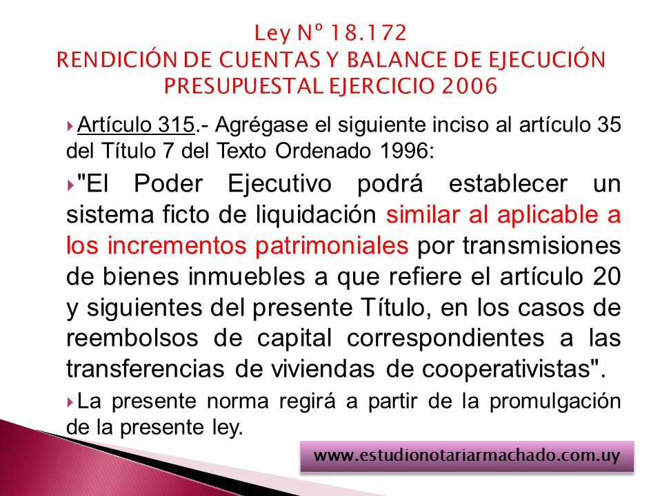 Ley Nº 18.172 RENDICIÓN DE CUENTAS Y BALANCE DE EJECUCIÓN PRESUPUESTAL EJERCICIO 2006