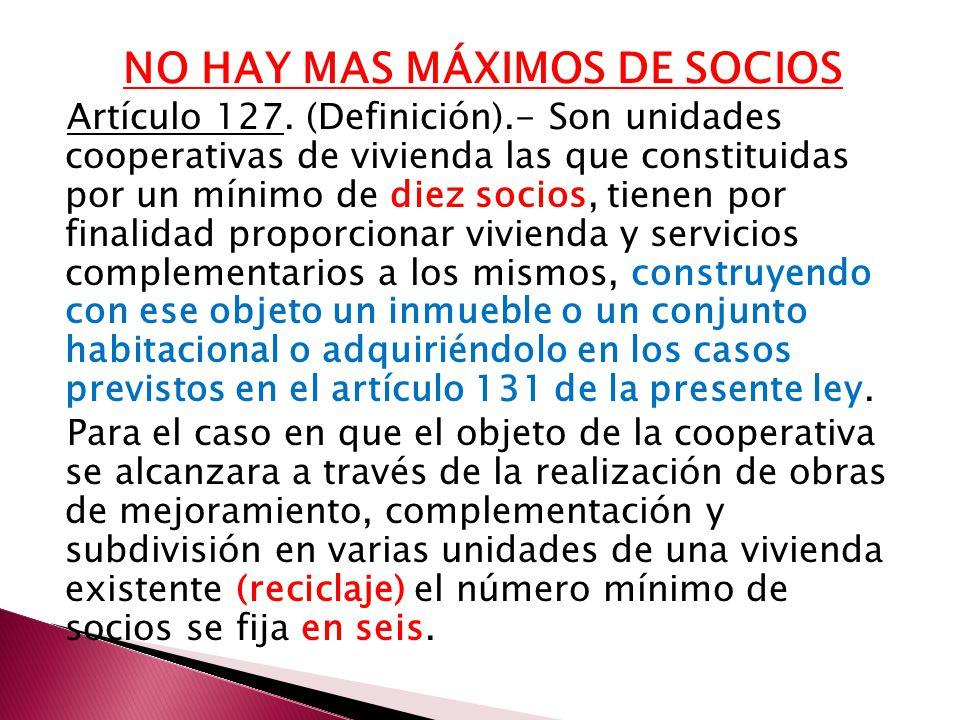 NO HAY MAS MÁXIMOS DE SOCIOS