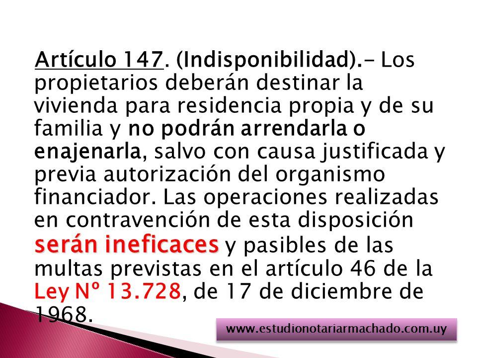 Artículo 147. (Indisponibilidad)