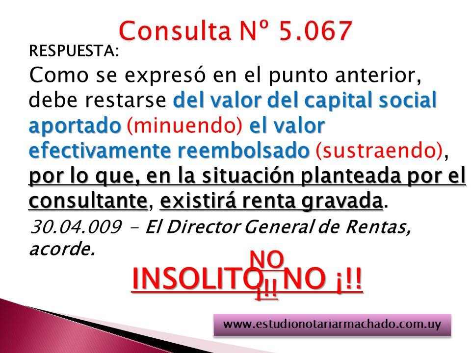 INSOLITO NO ¡!! Consulta Nº 5.067 NO ¡!!
