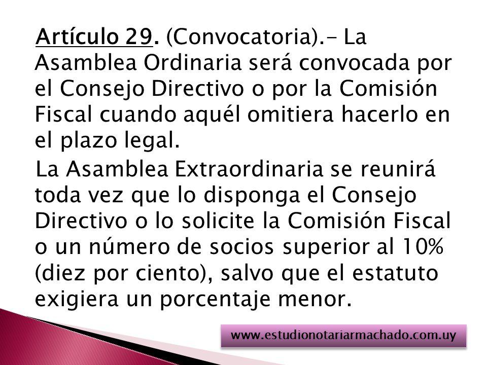 Artículo 29. (Convocatoria)