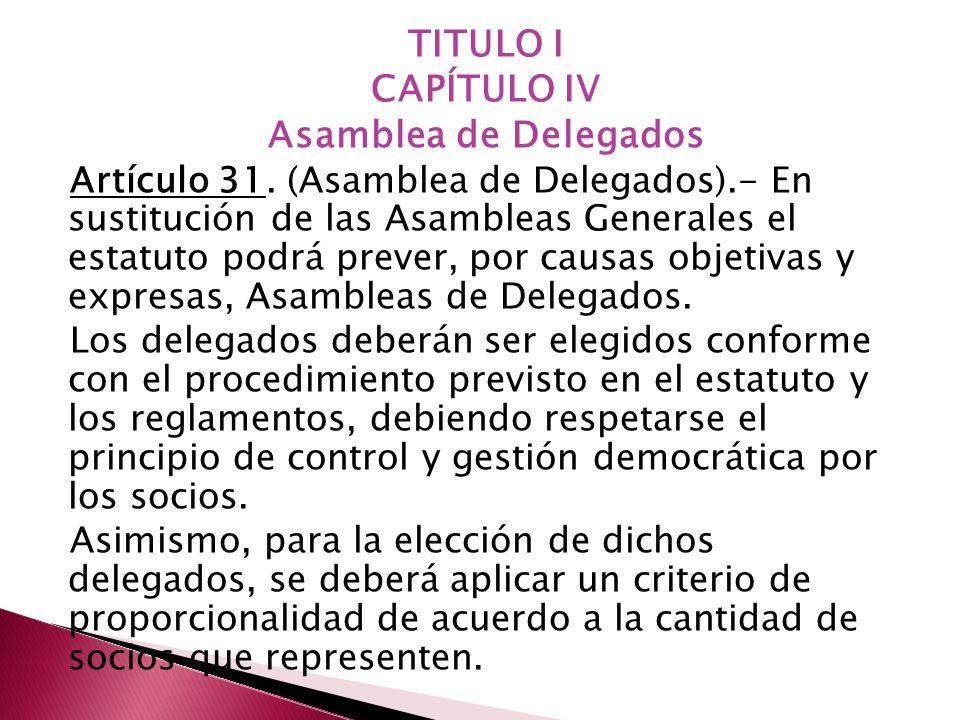TITULO I CAPÍTULO IV Asamblea de Delegados