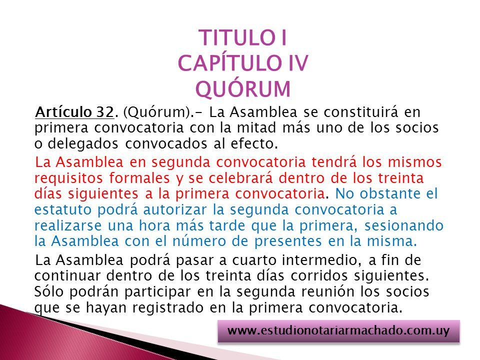 TITULO I CAPÍTULO IV QUÓRUM