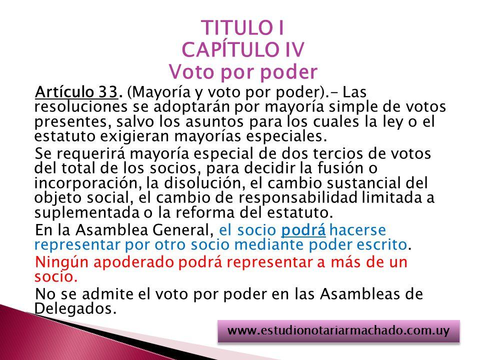 TITULO I CAPÍTULO IV Voto por poder