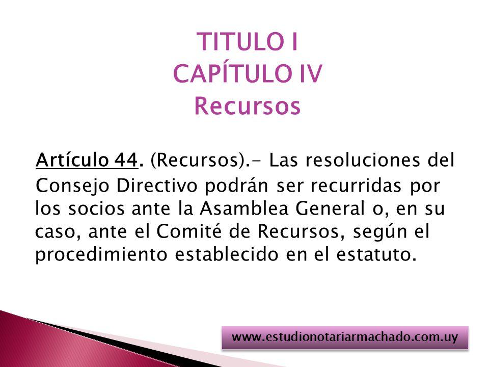 TITULO I CAPÍTULO IV Recursos