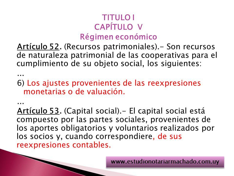 TITULO I CAPÍTULO V Régimen económico Artículo 52