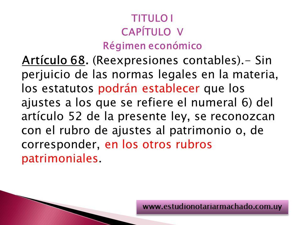 TITULO I CAPÍTULO V. Régimen económico.