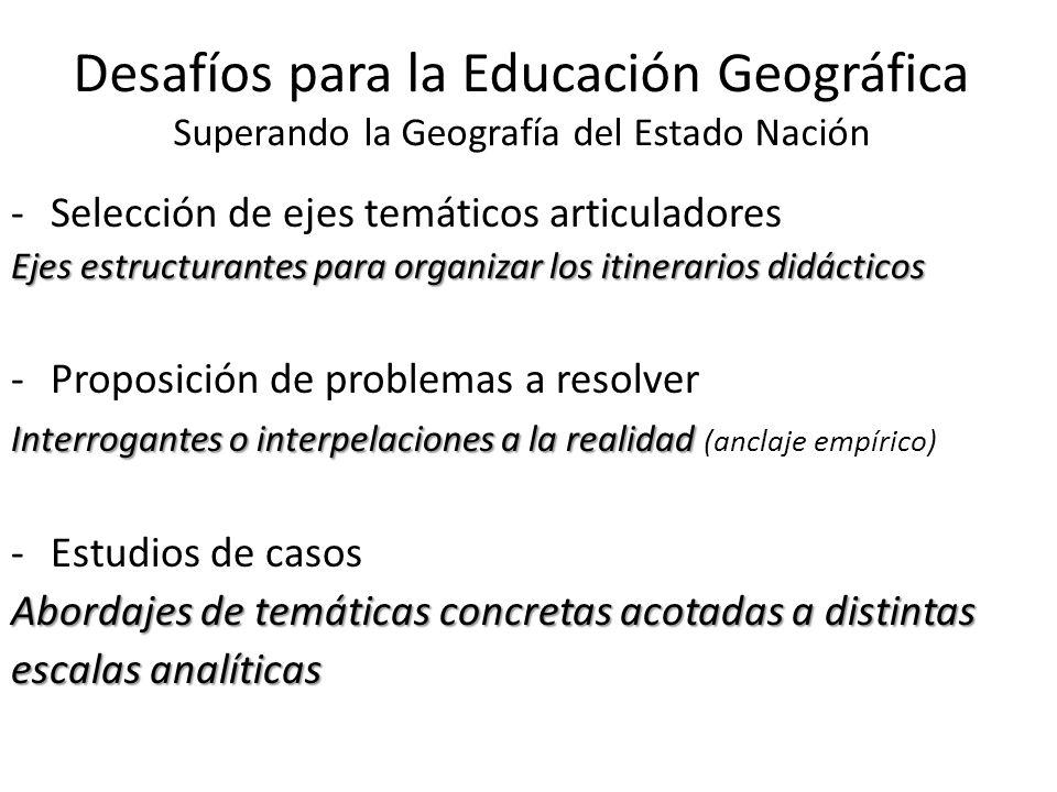 Desafíos para la Educación Geográfica Superando la Geografía del Estado Nación