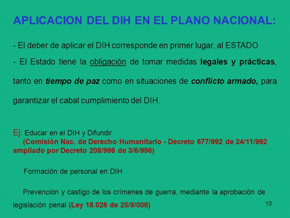 APLICACION DEL DIH EN EL PLANO NACIONAL: