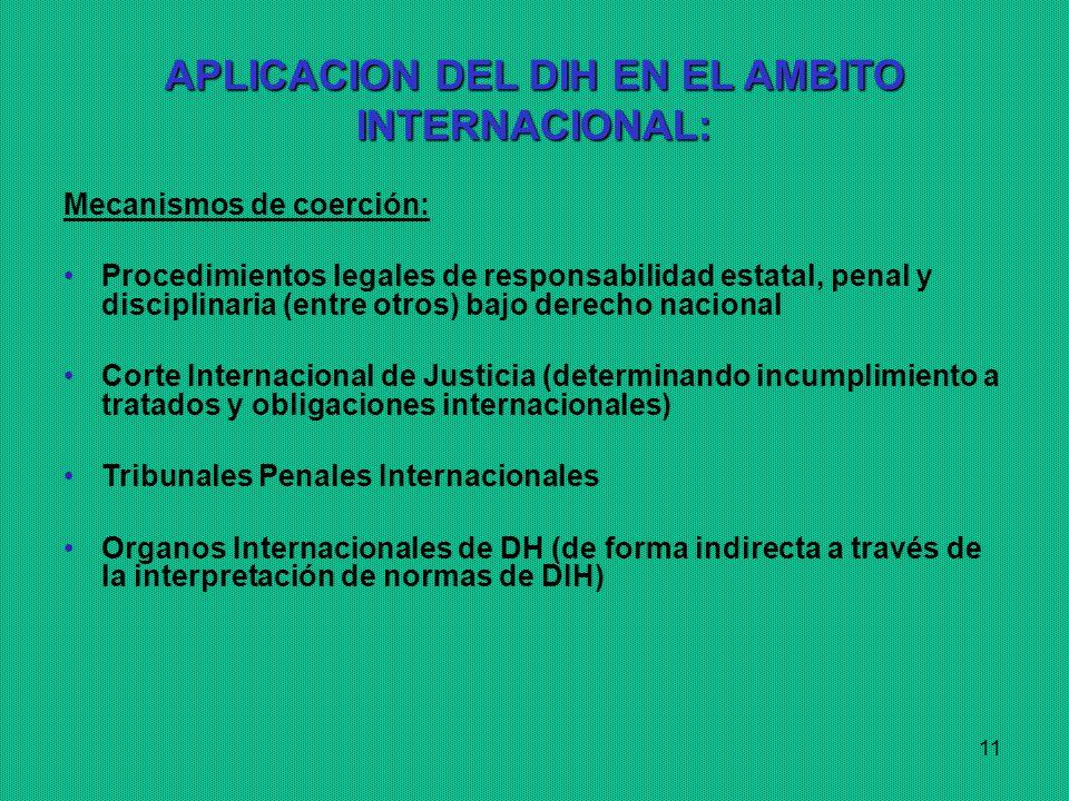APLICACION DEL DIH EN EL AMBITO INTERNACIONAL: