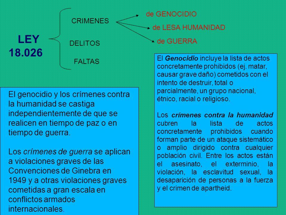 de GENOCIDIO CRIMENES. de LESA HUMANIDAD. LEY 18.026. de GUERRA. DELITOS.