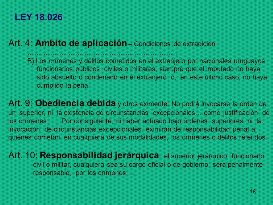 Art. 4: Ambito de aplicación – Condiciones de extradición