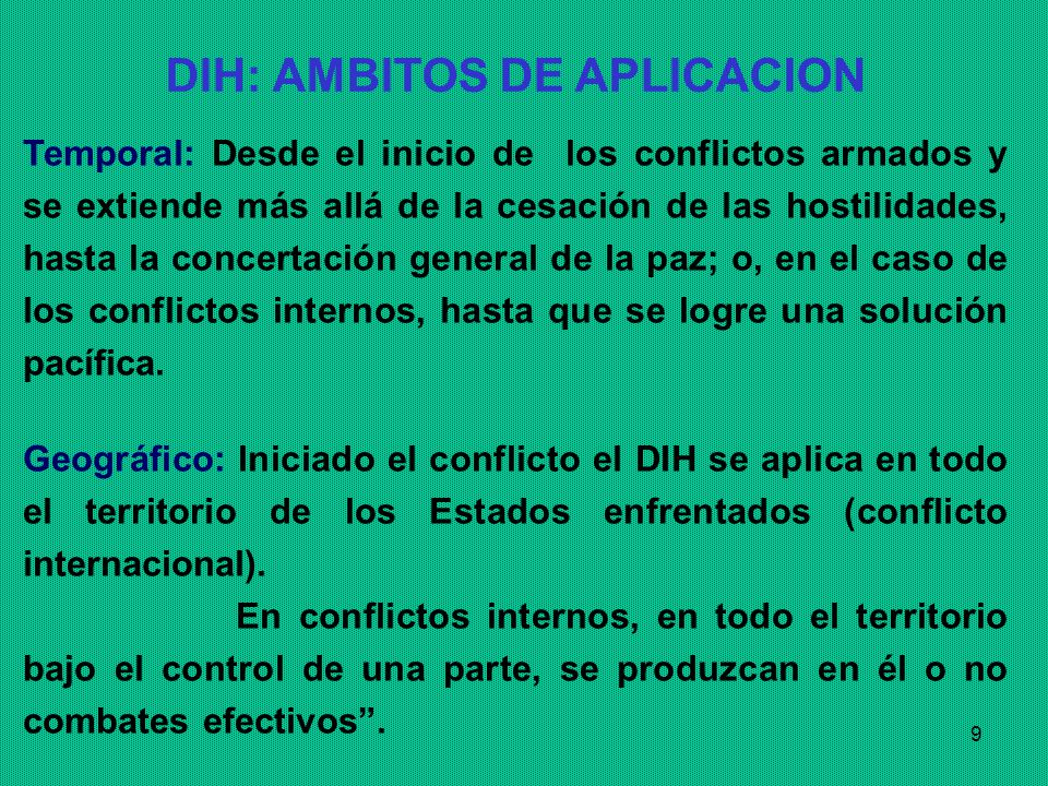 DIH: AMBITOS DE APLICACION