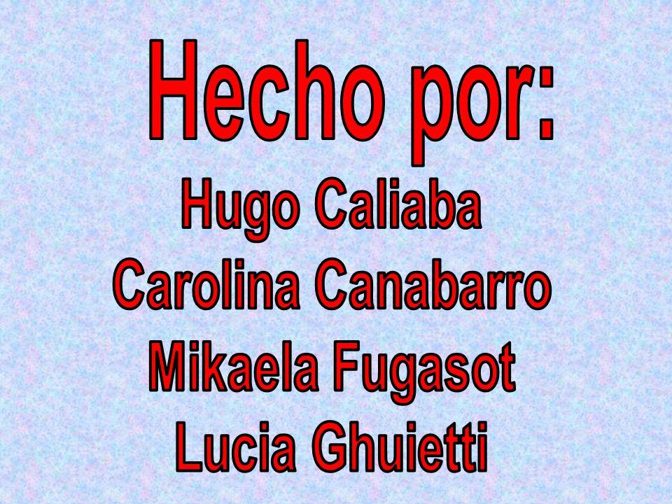 Hecho por: Hugo Caliaba Carolina Canabarro Mikaela Fugasot Lucia Ghuietti