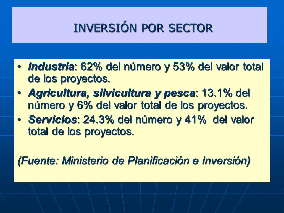INVERSIÓN POR SECTOR Industria: 62% del número y 53% del valor total de los proyectos.