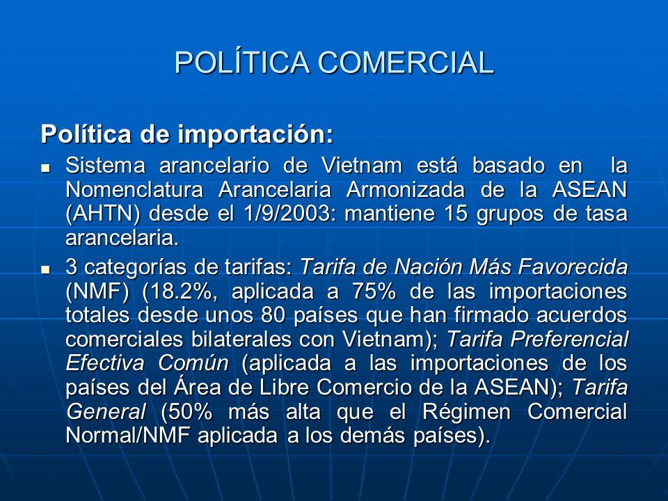 POLÍTICA COMERCIAL Política de importación: