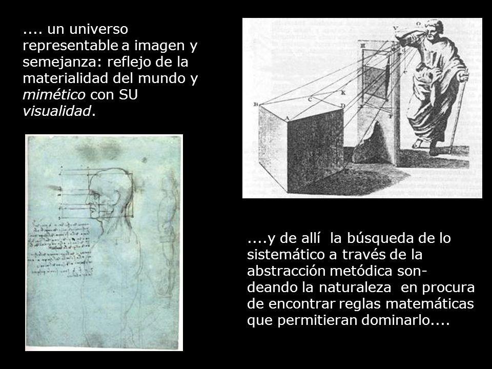 .... un universo representable a imagen y semejanza: reflejo de la materialidad del mundo y mimético con SU visualidad.