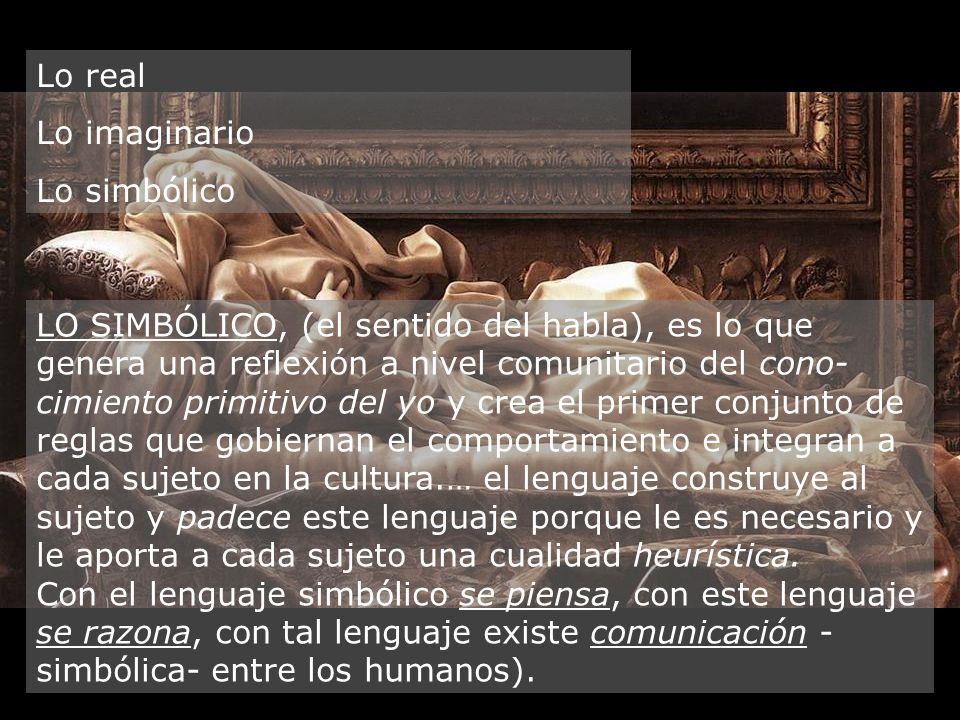 Lo real Lo imaginario. Lo simbólico.