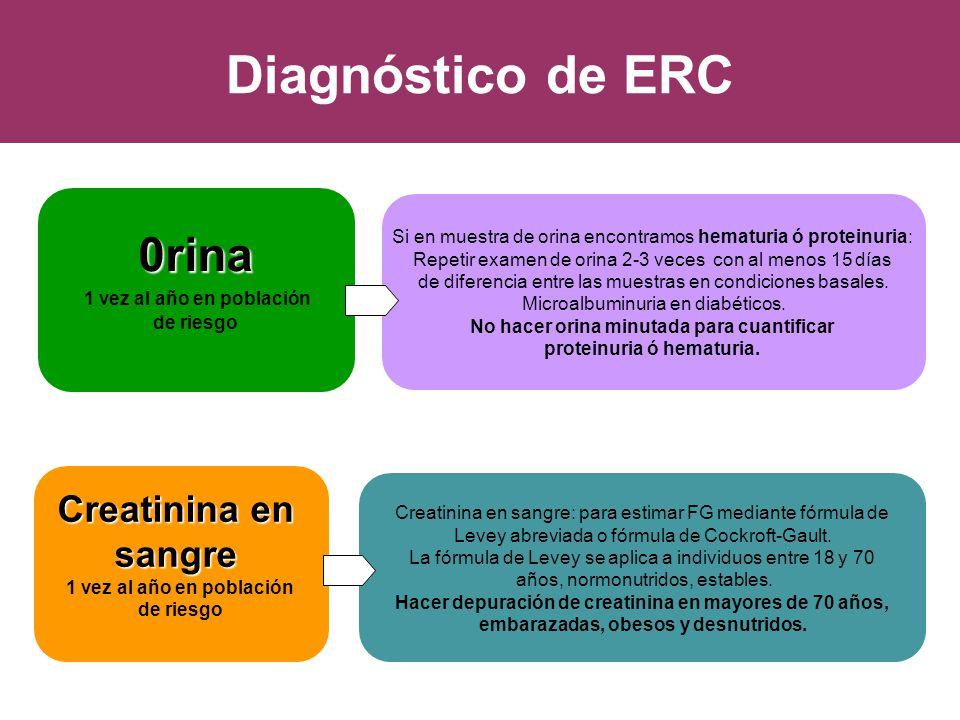 Diagnóstico de ERC 0rina Creatinina en sangre