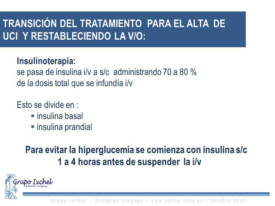 TRANSICIÓN DEL TRATAMIENTO PARA EL ALTA DE UCI Y RESTABLECIENDO LA V/O: