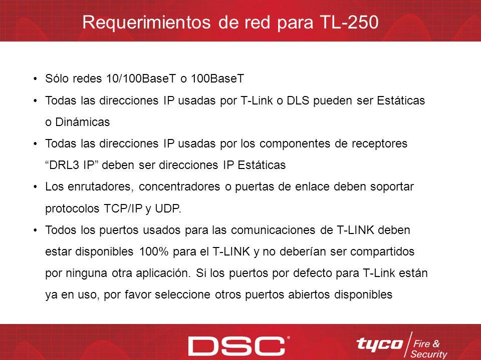 Requerimientos de red para TL-250