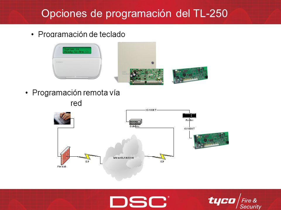 Opciones de programación del TL-250