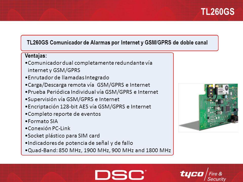 TL260GS TL260GS Comunicador de Alarmas por Internet y GSM/GPRS de doble canal. Ventajas: