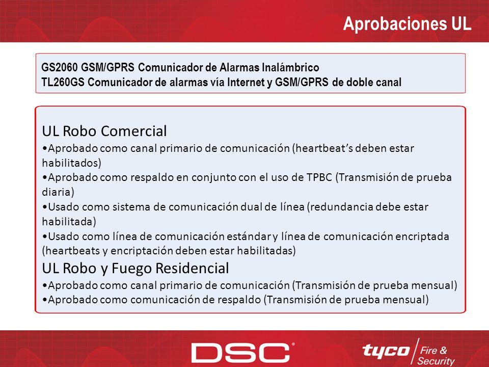 Aprobaciones UL UL Robo Comercial UL Robo y Fuego Residencial