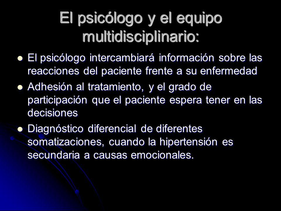 El psicólogo y el equipo multidisciplinario: