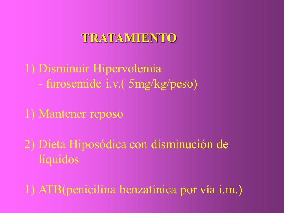 TRATAMIENTO Disminuir Hipervolemia. - furosemide i.v.( 5mg/kg/peso) Mantener reposo. Dieta Hiposódica con disminución de líquidos.