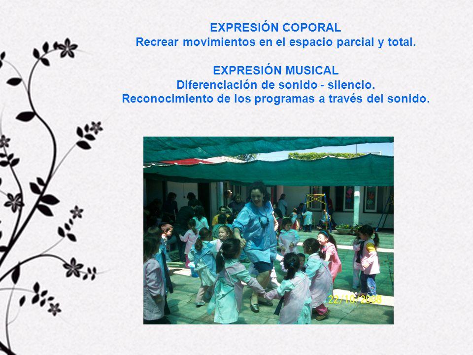 Recrear movimientos en el espacio parcial y total. EXPRESIÓN MUSICAL