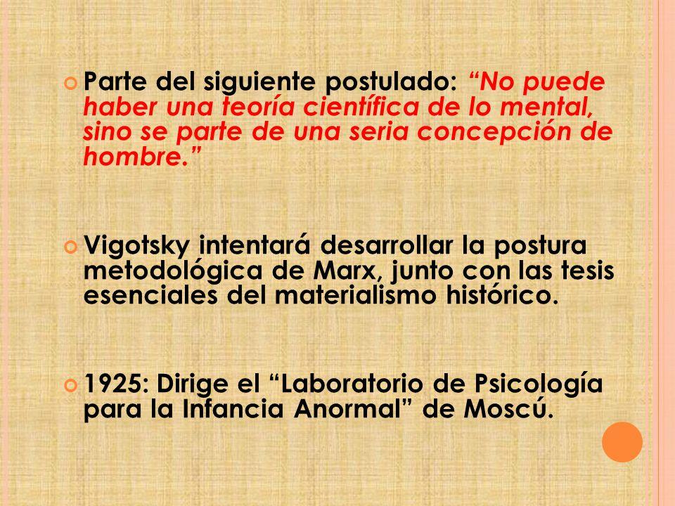 Parte del siguiente postulado: No puede haber una teoría científica de lo mental, sino se parte de una seria concepción de hombre.