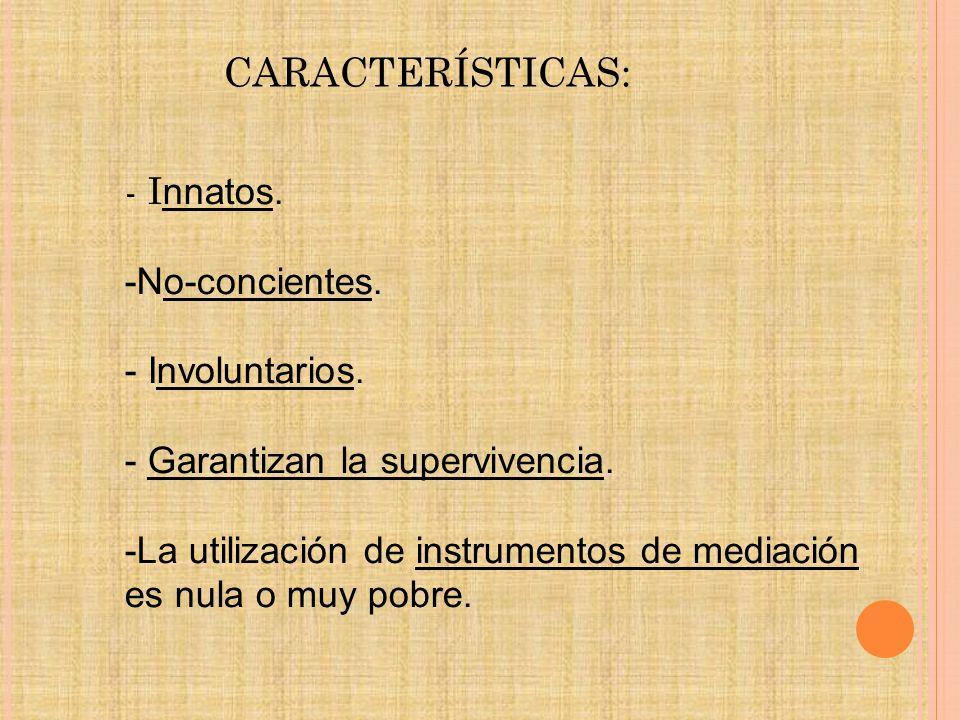 CARACTERÍSTICAS: - Innatos. -No-concientes. - Involuntarios.