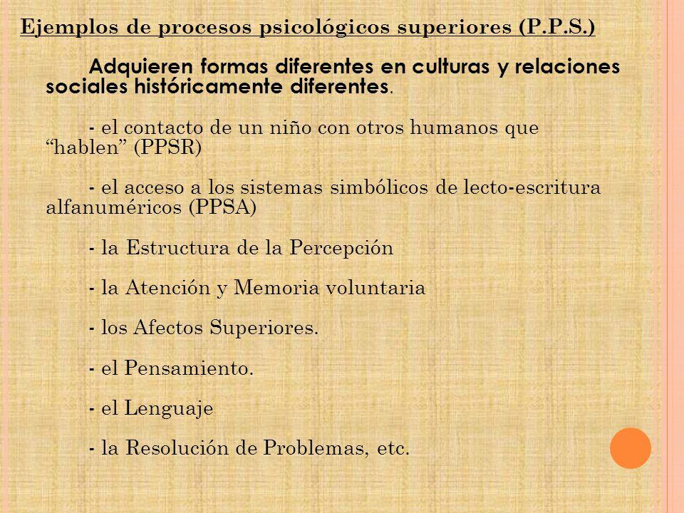 Ejemplos de procesos psicológicos superiores (P. P. S. )
