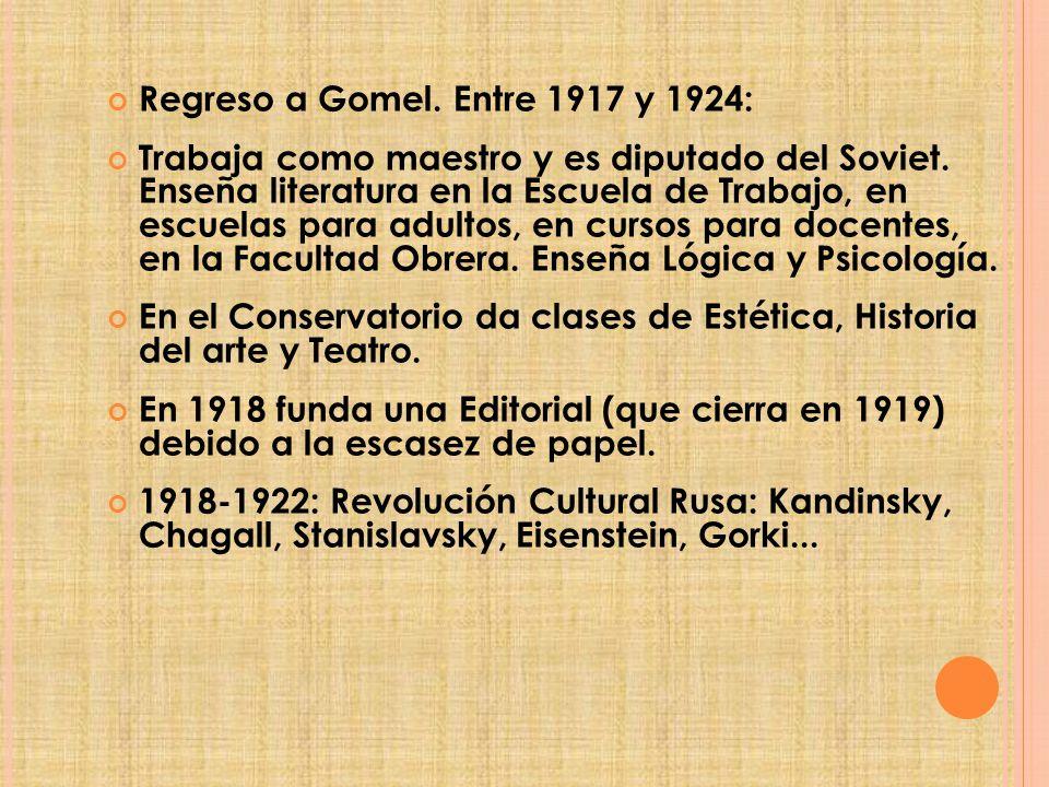Regreso a Gomel. Entre 1917 y 1924: