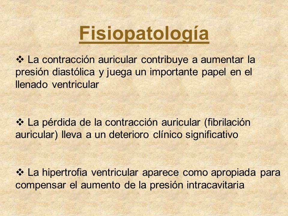 Fisiopatología La contracción auricular contribuye a aumentar la presión diastólica y juega un importante papel en el llenado ventricular.