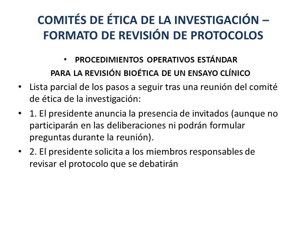 COMITÉS DE ÉTICA DE LA INVESTIGACIÓN – FORMATO DE REVISIÓN DE PROTOCOLOS