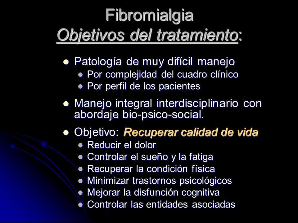 Fibromialgia Objetivos del tratamiento: