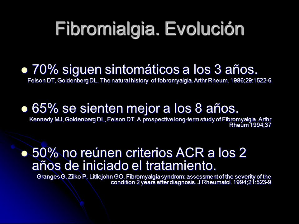Fibromialgia. Evolución