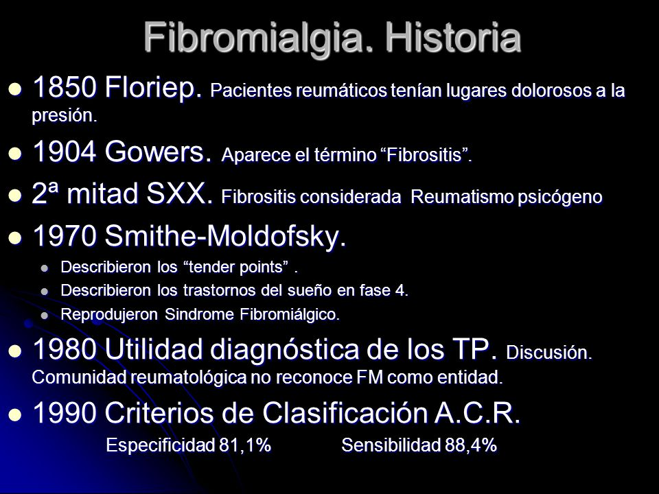 Fibromialgia. Historia