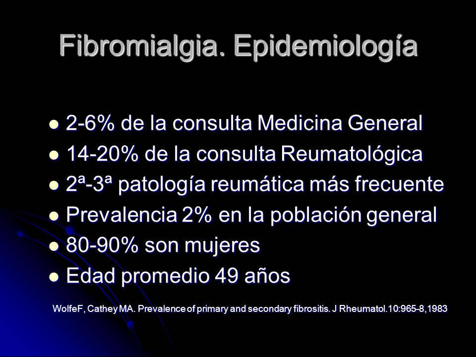 Fibromialgia. Epidemiología