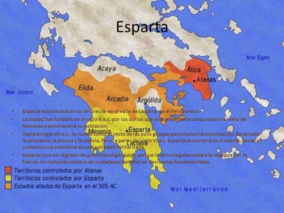 Esparta Esparta está situada al sur de Grecia, en el valle de Laconia, en el Peloponeso.