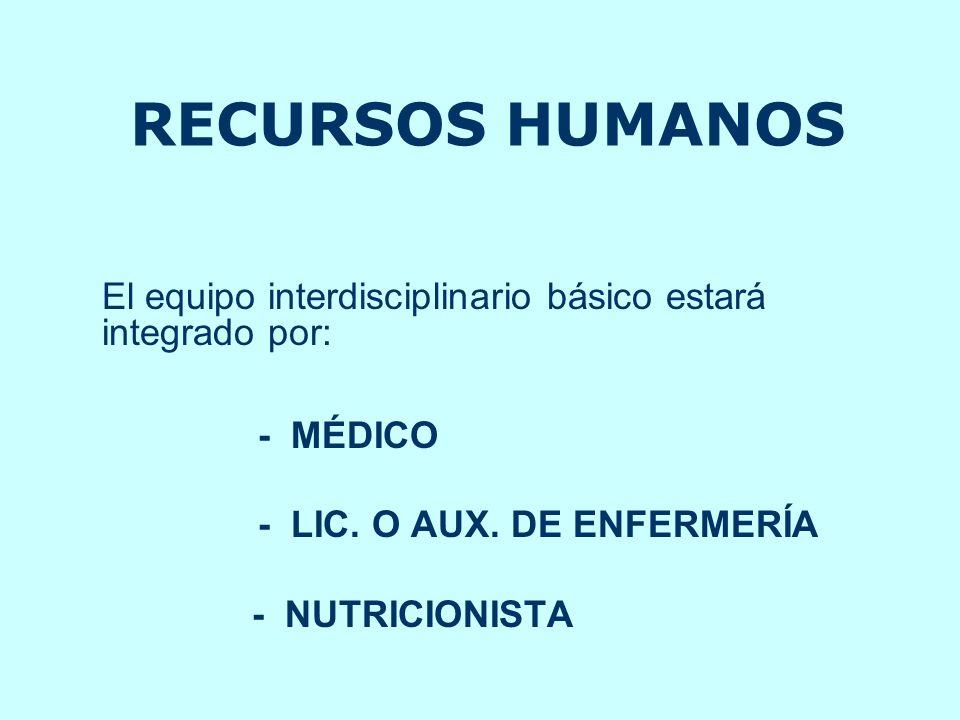 RECURSOS HUMANOS El equipo interdisciplinario básico estará integrado por: - MÉDICO. - LIC. O AUX. DE ENFERMERÍA.