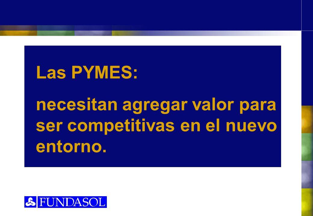 Las PYMES: necesitan agregar valor para ser competitivas en el nuevo entorno.