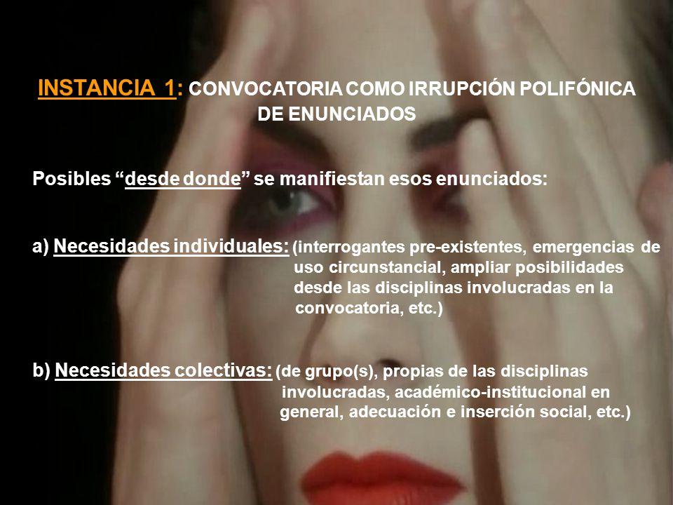 INSTANCIA 1: CONVOCATORIA COMO IRRUPCIÓN POLIFÓNICA