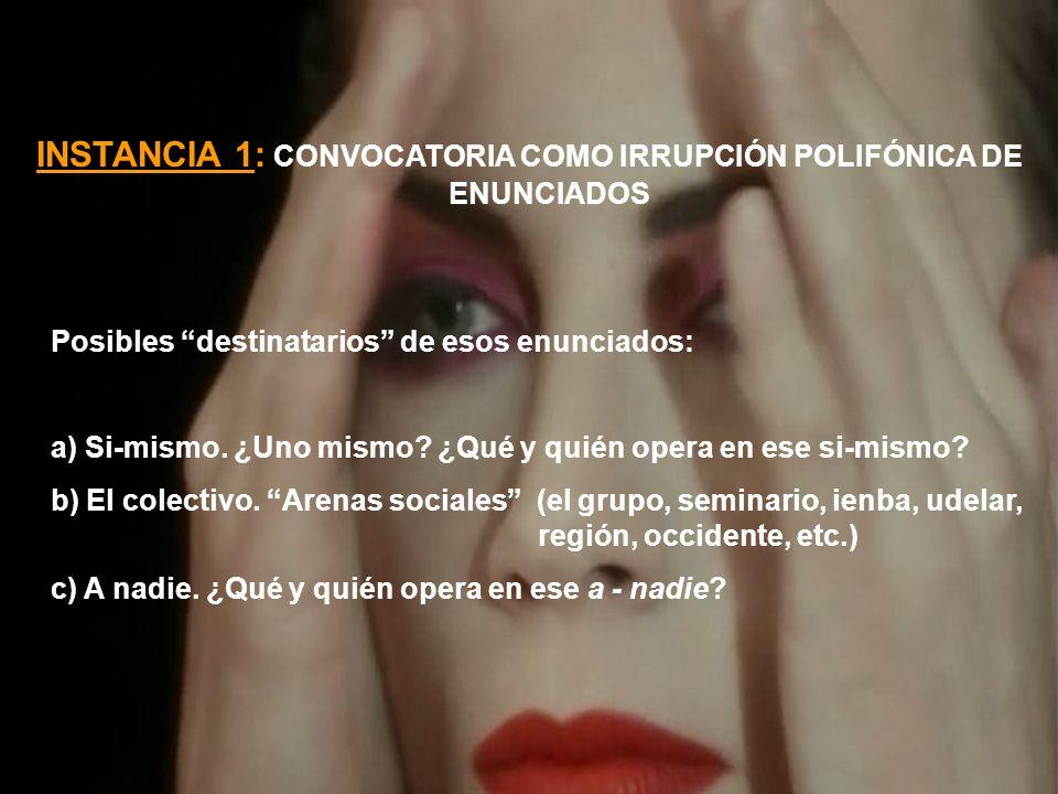 INSTANCIA 1: CONVOCATORIA COMO IRRUPCIÓN POLIFÓNICA DE ENUNCIADOS