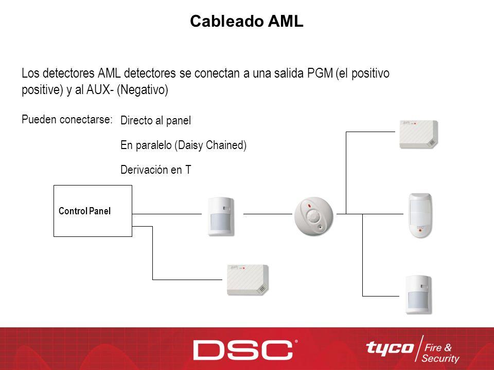 Cableado AML Los detectores AML detectores se conectan a una salida PGM (el positivo positive) y al AUX- (Negativo)